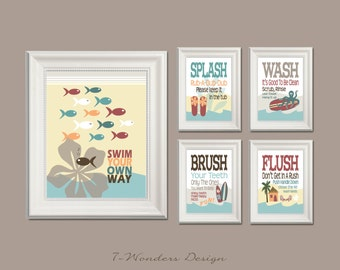 Childrens Kids Bathroom Art Prints Set Of 5 11 X 14 And