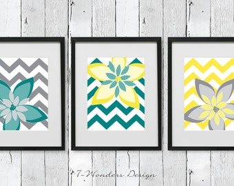 Modern Flower Abstract Digital Fine Art Prints - with Chevrons // Teal, Grey, Yellow // Home Decor // Set of (3) - 5x7 OR 8x10 - Unframed