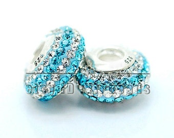 SALE 1PC Crystal Rhinestone Beads European Charm Bead with 925 Sterling Silver Screw Threaded Core - Fits European charm bracelets / PU65