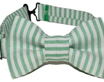 Bow Tie - Green and White Seersucker Bowtie