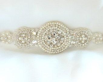 Wedding sash, Bridal belt , Bridal sash - satin ribbon with crystal and rhinestone beaded applique sash