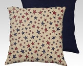 """18"""" X18"""" Primitive Vintage Folk Americana Stars Pillow Zippered Cover / Case w/ Choice of Red or Navy back.SUPER Luxurious Soft!"""