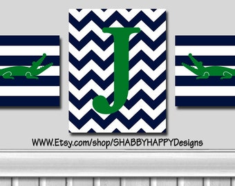 Nursery Art Alligator PERSONALIZED Monogram Trio - Set of 3 - 2 8X10 + 1 11X14 -Your Choice Colors- Wall Art Poster Prints - FC Mount Option