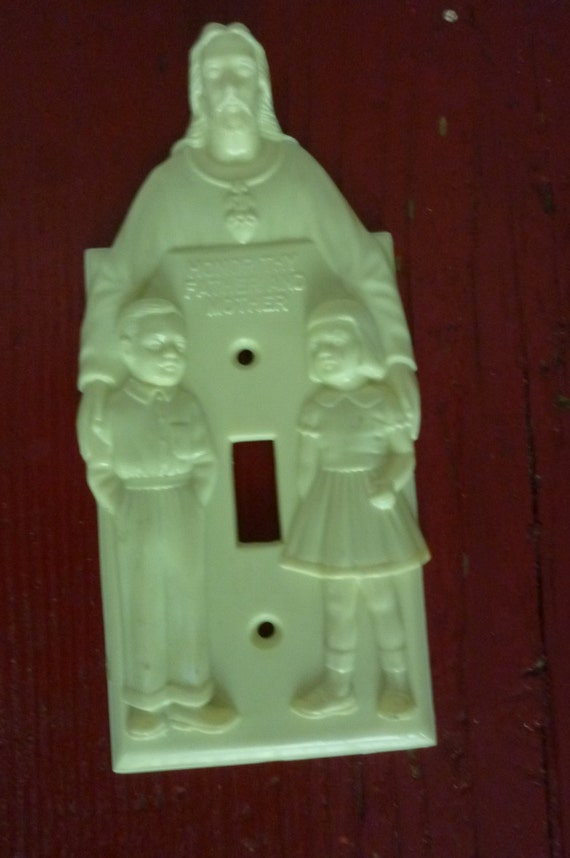 Vintage Catholic Religious Goods Switch Plate Honor Thy Father
