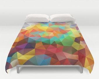 Duvet, Duvet Cover, King Size, Bed cover, King Duvet, Queen Duvet, Art Duvet, Orange, Red, Green, Yellow, Flower, Polygon, Geometric,Pattern