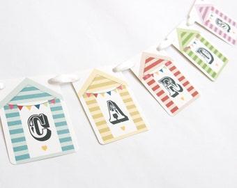 Beach Hut Wedding Cards Banner, Garland, Bunting, Flags, Wedding Sign, Wedding Bunting, Seaside Wedding, Wedding Post Box