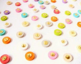Six Wood colorpalooza thumb tacks  Push pins made of painted maple wood.