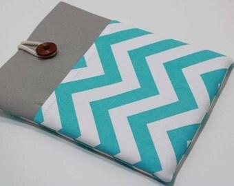 Teal iPad Pro 10.5 Sleeve Ipad Pro 10.5 Case foam Padded Handmade iPad Air Cover with Pocket- Chevron Aqua Blue