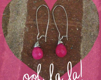 Pink faceted teardrop earring