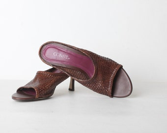Size 8 Women's Brown Woven Leather Slide on Pumps