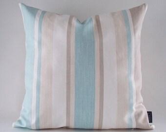 Linen Stripe Pillow Cover, Blue,Beige,White Linen Cushion, Linen Pillow,  Decorative Pillow, All Sizes  14,16,18,20,22,24,26,28,30 inches