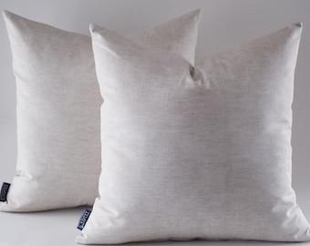 Set Of 2 / 18x18 Light Cream Linen Pillow Covers, Decorative Throw Linen Pillows, Modern Pillows