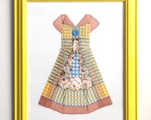 Framed Hanky Dress � Yellow Blue Brown Plaid - HankyDresses