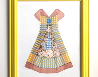 Framed Hanky Dress – Yellow Blue Brown Plaid