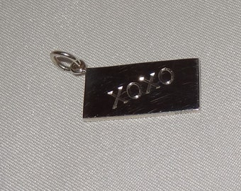"""Sterling Silver """"XXOO"""" Love Letter Pendant or Charm"""