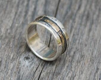 Rustic Organic Mans Wedding Gold Sterling Silver  Handmade  Metalwork Ring