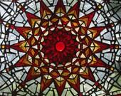 Stained Glass Mosaic Mandala Rosette Panel Seen on CBS Sunday Morning