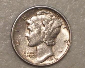 US 1944-S Winged Liberty Head Mercury Dime, AU, Silver