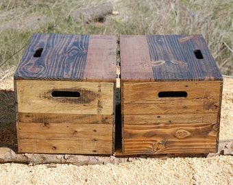 Set of 2 Wooden Crate End Table/ Side Table/ Bedside Table/ Low Profile