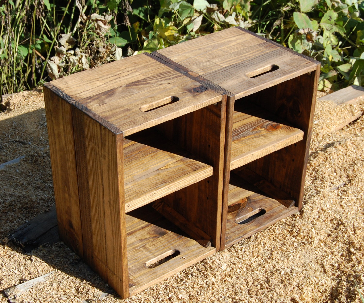Wooden crates nightstand pair of side tables reclaim wood - Table de nuit palette ...