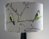 handmade fabric drum grey green birds uk