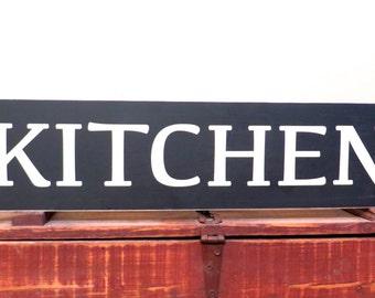 Armhouse Kitchen Blue Black White Wood
