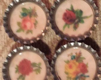 Vintage flowers bottlecap magnets