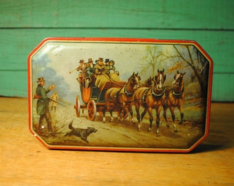 Antique Octagon Red Carriage, horses and dog English Classic George Horner Candy Tin  toffee candy tin Made in England Home Decor storage.