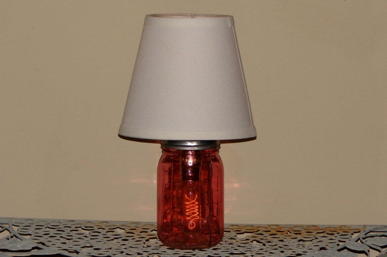 handmade mason jar lamp with shade rose mason by glassactsupply. Black Bedroom Furniture Sets. Home Design Ideas