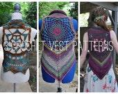 3 Crochet Pattern Pack - 3 Mandala Vests