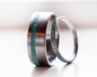 Mens Wedding Band Womens Wedding Band Matching Set of Turquoise Ring - Staghead Designs
