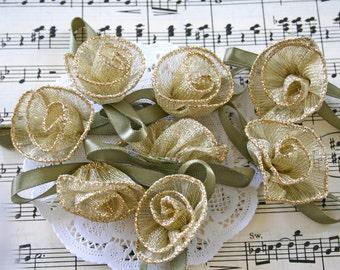 Handmade Millinery Metallic Gold Rosebuds