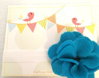 Ready To Ship - Large Teal/White Flower Headband (Style 1)