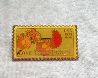 Love You, Mother!-Postage Stamp Pin 22 cents