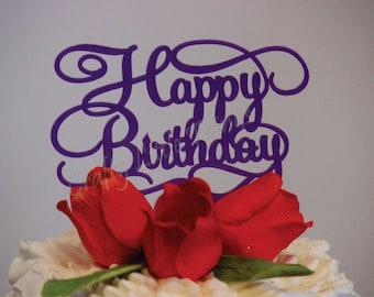 6 inch Happy Birthday acrylic Cake Topper - Weddings, Birthday, Anniversary