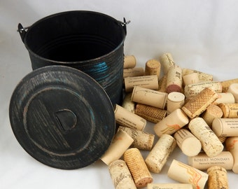 Wine Corks for Crafting & DIY - Black Metal Bucket with Lid Included