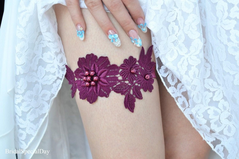 Wedding Garter Deep Purple Garter Bridal Garter Set Pearls