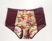 High style panties. Delicate fabrics. Floral pattern and bordo colors. Natural beauty with retro touch. Very feminine.