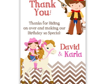 Cowboy Thank You Card - Brown Chevron Twin Boy Girl, Cowboy Cowgirl Horse Personalized Birthday Party Thank You - a Digital Printable File