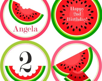 Watermelon Party Circles - Pink and Lime Green, Cute Summer Watermelon Personalized Birthday Party Circles - A Digital Printable File