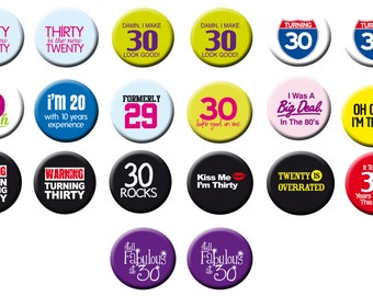 """20 Thrtieth 30th Birthday  1"""" inch pinback buttons Party favor 30th Birthday  theme favors"""