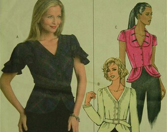 """Peplum Top & Belt - 2000's -  Butterick Pattern 4853 Uncut  Size 6-8-10-12  Bust 30.5-31.5-32.5-34"""""""