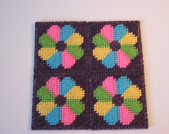 PSYCHEDELIC 60's Flower Power Coasters  Set of 4