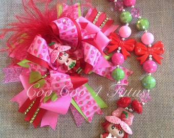 Over the top strawberry shortcake bow and necklace set