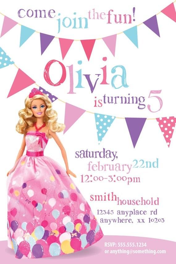 DIY Invitation imprimable thu00e8me Barbie - Invitation anniversaire ...