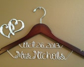 Personalized Wedding hanger, Bridal hanger with date, Wedding Gift, Bride gift, Name Hanger, Custom Made Wedding Hanger,Personalized hanger
