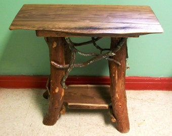 Rustic Handmade End Table Log Cabin Adirondack Furniture by J. Wade, walnut accent side table with shelf