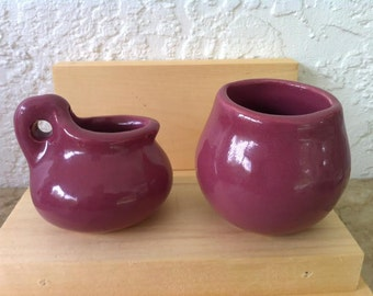 Vintage Art Pottery - Zanesville Stoneware Cream and Sugar in Maroon. They called it Mauve Glaze, Free Shipping