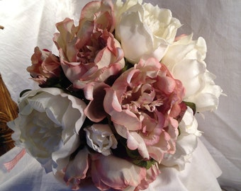 Artificial Wedding Flowers Pink White  Peony Bridal Bouquet