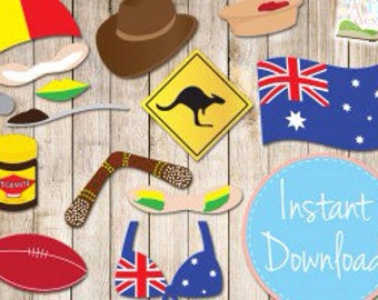 Instant Download - AUSTRALIA DAY Photo booth Props Printable